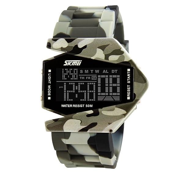 TONSHEN Relojes de pulsera Para Niño, LED Digital Display Al Aire Libre Deportivo 5ATM Resistente al Agua Goma Banda Militares Calendario Cronómetro 7 ...