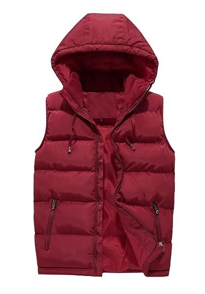 Giacca con cappuccio in cotone gilet da uomo rosso invernale