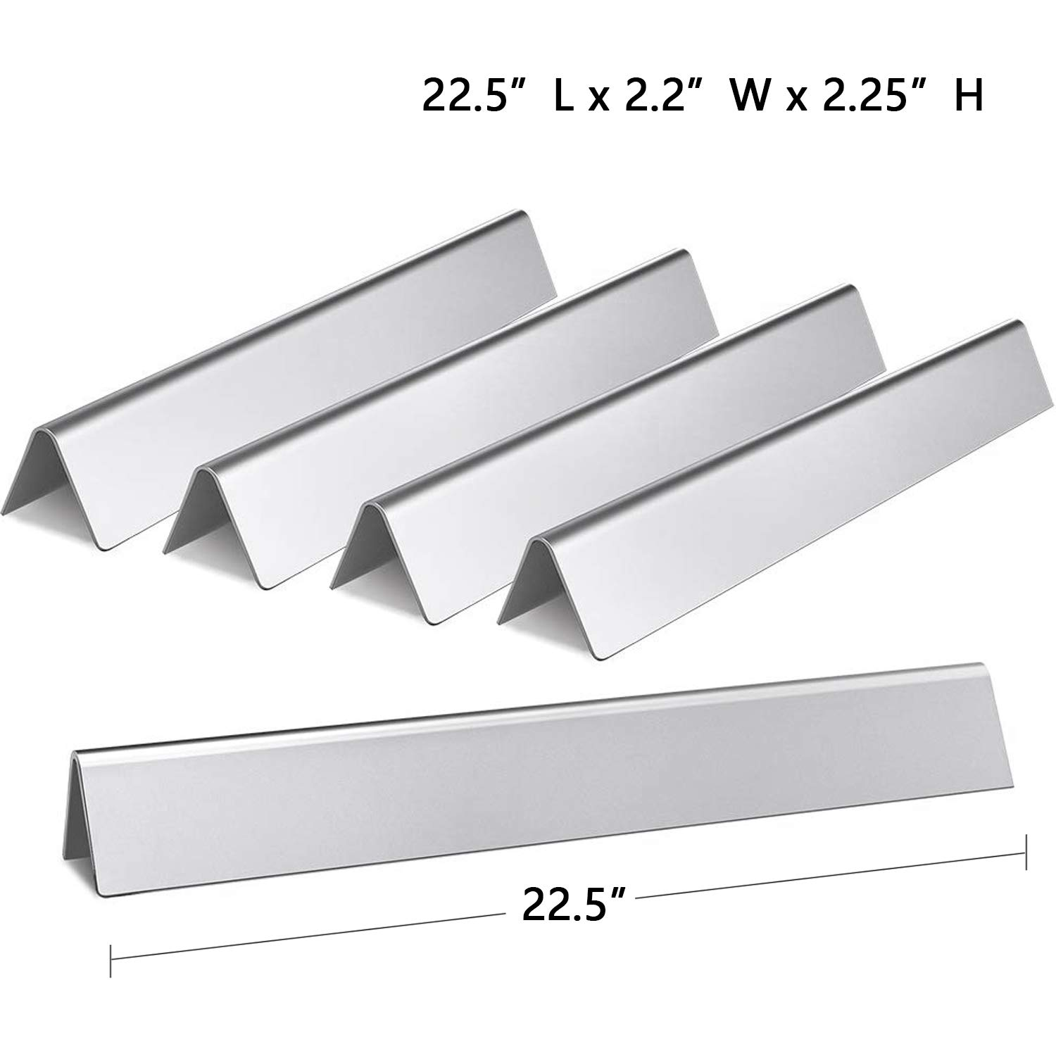 Hongso 7537 22.5'' Stainless Steel Flavorizer Bars for Weber Spirit E-310 E-320 (With Side-Mounted Controls), Spirit 700, Genesis Silver B/C, Genesis Platinum B/C (2005+) Gas Grill, 7536 65903 Set of 5 by Hongso