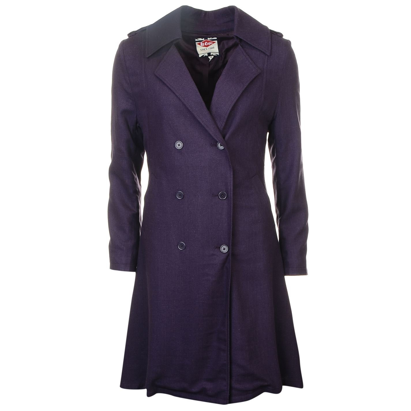 Lee Cooper Womens Trench Coat Mac Top Jacket Long Sleeve Lightweight Fold Over Purple 8 (XS)