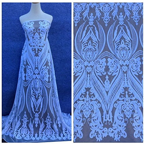 Lace Fabrics New White/Green/Deep blue/Gold/Champgane on White elastic background sequins 51