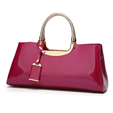 Amazon.com  New Patent Leather PU Handbag Women Top-handle Casual Totes  Lady Frame Shoulder Evening Bags 7fe8ed0ad90a8