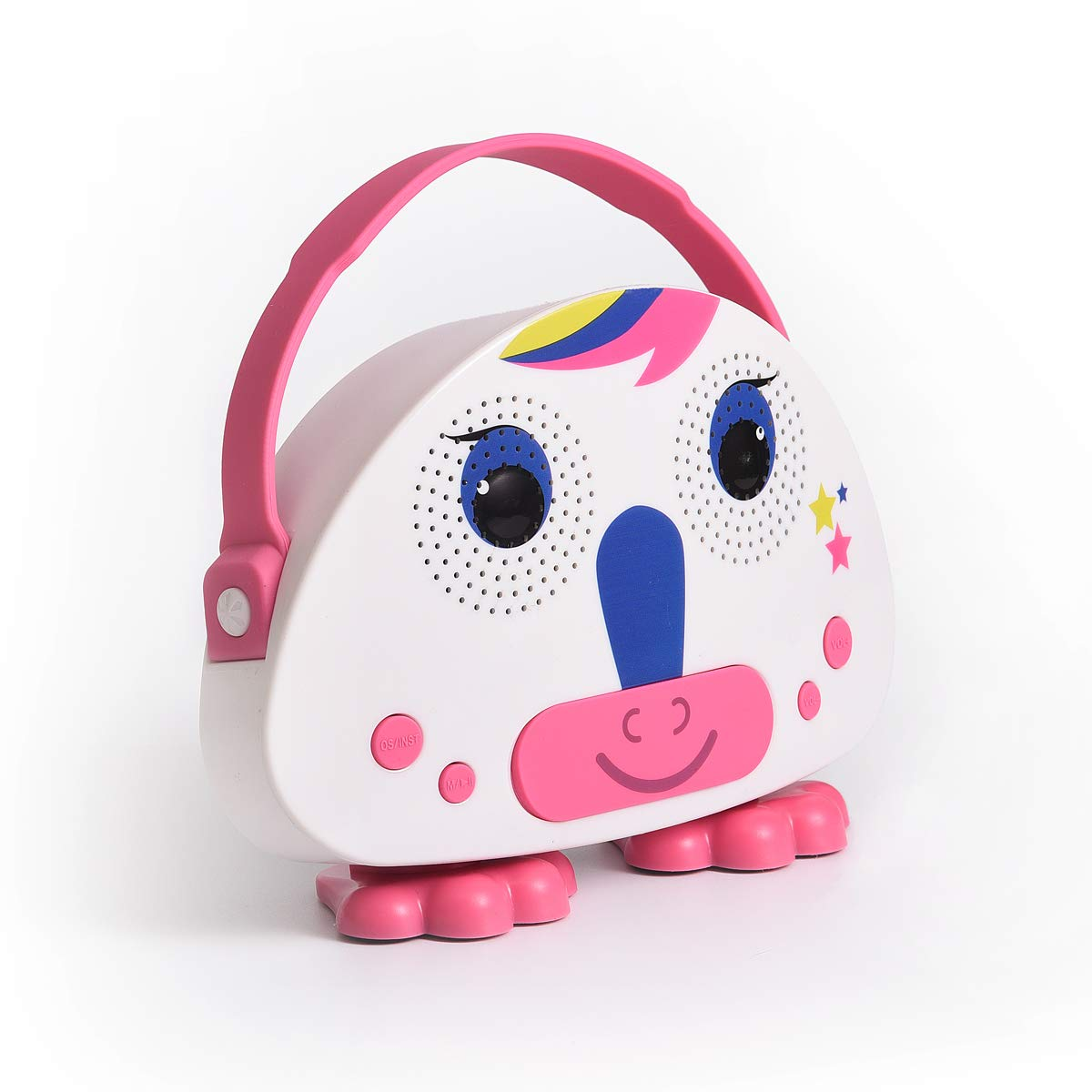 HowQ Outdoor Toys Karaoke Machine , Portable Kids Karaoke Bluetooth Speaker Wireless Cartoon Speaker for Kids for Indoor Toys Travel Activities with Microphone Karaoke Machine(Pink-White) by HowQ (Image #4)