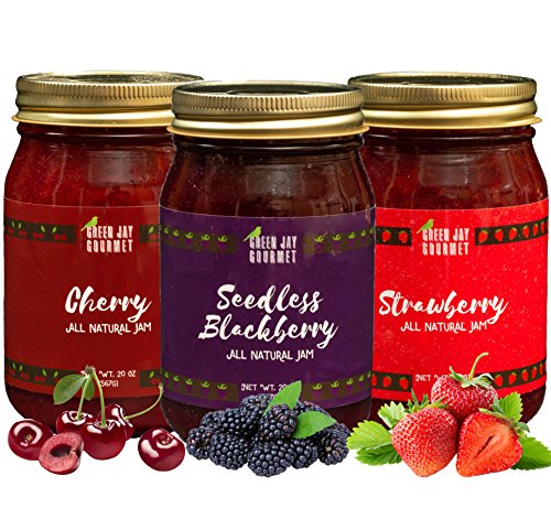 Green Jay Gourmet Classic Jam Collection - Cherry, Blackberry, Strawberry Jam - All-Natural Fruit Jam Bundle - Vegan, Gluten-free Jam - No Preservatives or Corn Syrup - Made in USA - 3 x 20 Ounces]()