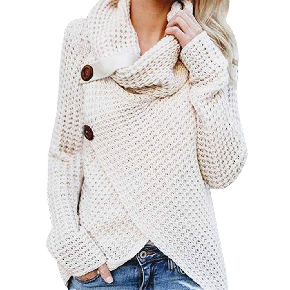 Kemilove Women's Turtle Cowl Neck Chunky Pullover Sweaters Cable Knitted Irregular Hem Coats with Button