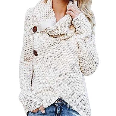 Damen Strick Sweatshirt Pullover Langarm Sweater Winter Cardigan Bluse Tops DE