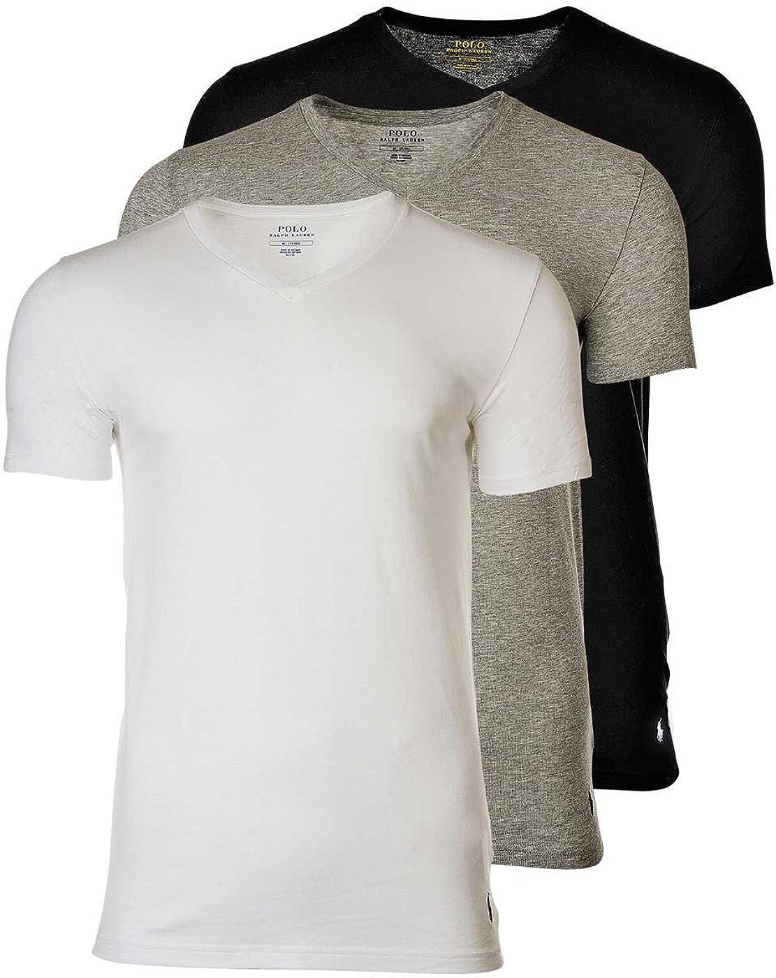 Polo Ralph Lauren 3 Pack Camisetas Hombre, Cuello V, Media Manga - Blanco/Gris/Negro: Amazon.es: Ropa y accesorios
