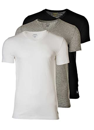 Polo Ralph Lauren 3 Pack Homme T-Shirts, Col V, Manches mi-Longues ... 59f6c9854da