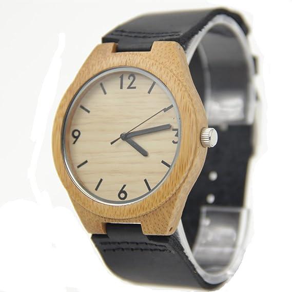 Custom personalizado grabado madera de moda reloj con banda de cuero negro: Amazon.es: Relojes