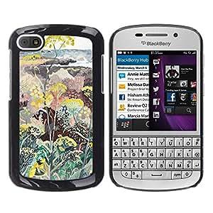 Be Good Phone Accessory // Dura Cáscara cubierta Protectora Caso Carcasa Funda de Protección para BlackBerry Q10 // Flowers Plants Painting Art