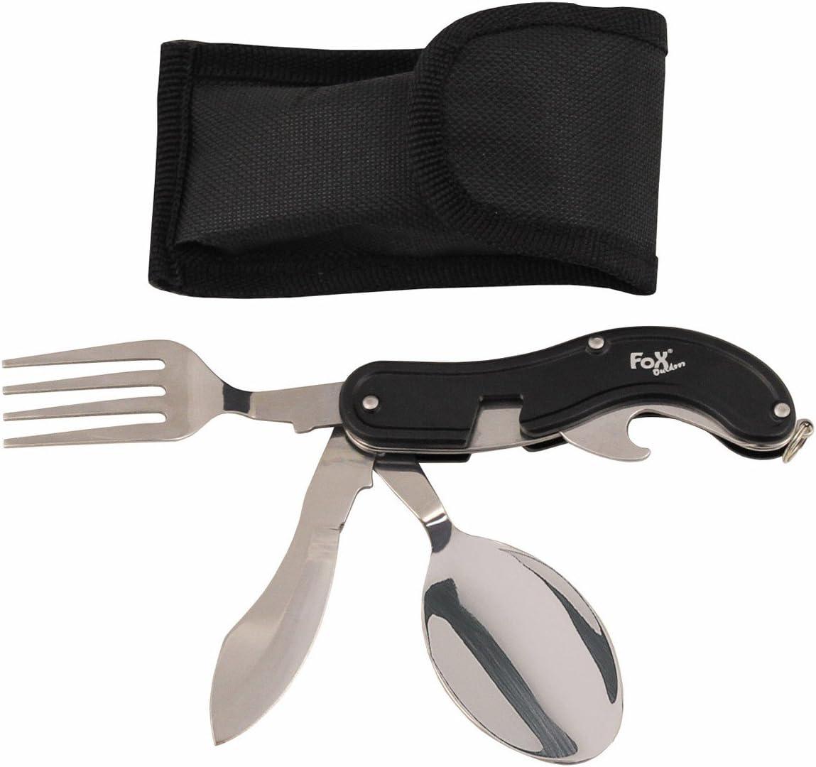 4 piezas MFH Navaja Cubiertos Cubiertos camping Cubiertos con estuche de nailon Cuchillo Tenedor Cuchara Vikingo