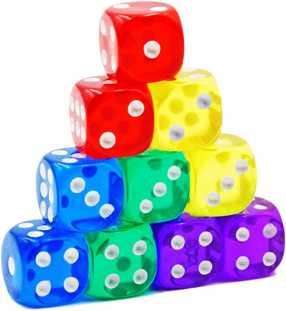 iB/àste 10 Colores Transparentes para Juegos de Dados Juegos de Dados de Tablero de Dados est/ándar de 6 Lados y Otros Juegos de Casino 16mm