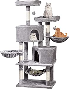 Multi-Level Cat Tree, MQ Cat Tower 57'' with Sisal-Covered Scratching Posts Cat Activity Center Play Furniture, Dual Plush Perch, Dual Cat House Condo & Basket, Removable Hammock for Kittens Large Cat
