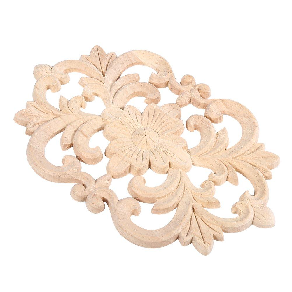 Lot de 2/meubles en applique grav/és en bois grav/és non vernis pour la d/écoration de larmoire de la porte de maison 22*14CM