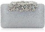 Dexmay Womens Evening Bag with Flower clasp Wedding Handbag Rhinestone Crystal Clutch Purse AB Silver
