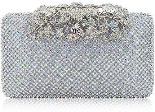 Dexmay Womens Evening Bag with Flower clasp Wedding Handbag Rhinestone Crystal Clutch Purse AB Silver