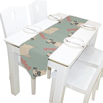Amazon.com: Dragon Sword Pugs Camino de mesa de cocina ...