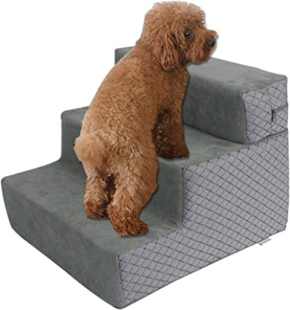 Peitten Escaleras para Mascotas 3 Pasos para Perro Gato Escaleras Antideslizantes para Mascotas Escalera Desmontable extraíble para Esponja Escalera para Cama Sofá Cama Alta Funda Lavable: Amazon.es: Hogar
