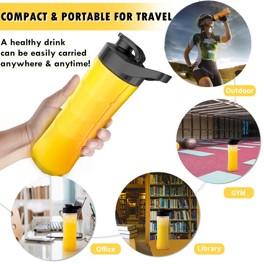 Personal Blender for Shakes and Smoothies - Powerful Drink Mixer with 20 Oz To Go Bottle, Single Use Juicer with Easy One Touch Operation, Great for Sports, Travel, Gym and Office (with Silicone Ice Cube Tray & Bottle Brush) by Gloridea (Image #3)