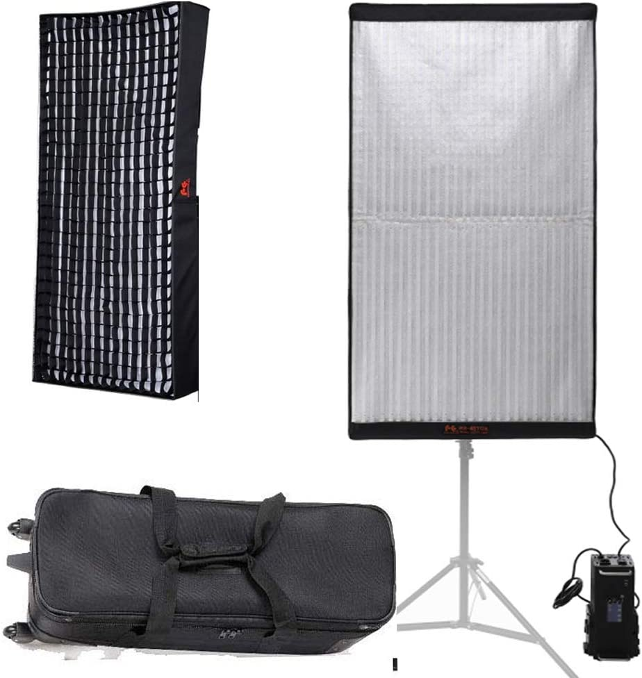 Falcon Eyes RX-48TDX 300W High Power Roll-Flex Photo Light 3000K-5600K Bi-Color LED Photo Light with Honeycomb Grid Softbox Flexible Continuous Output Lighting for Shooting RX-48TDX+RX-48TDXSBHC