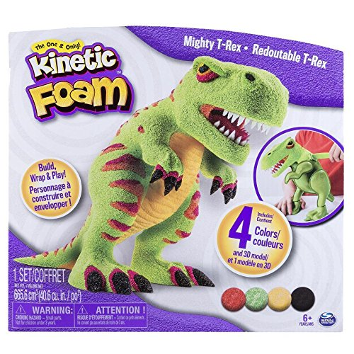 T-rex Sand Naturals (Kinetic Sand Kinetic Foam Sculpture Mighty T-Rex For Ages 6+ it's Kinetic Foam! It's the stretchy, squishy and easily moldable foam that offers endless creative play.)