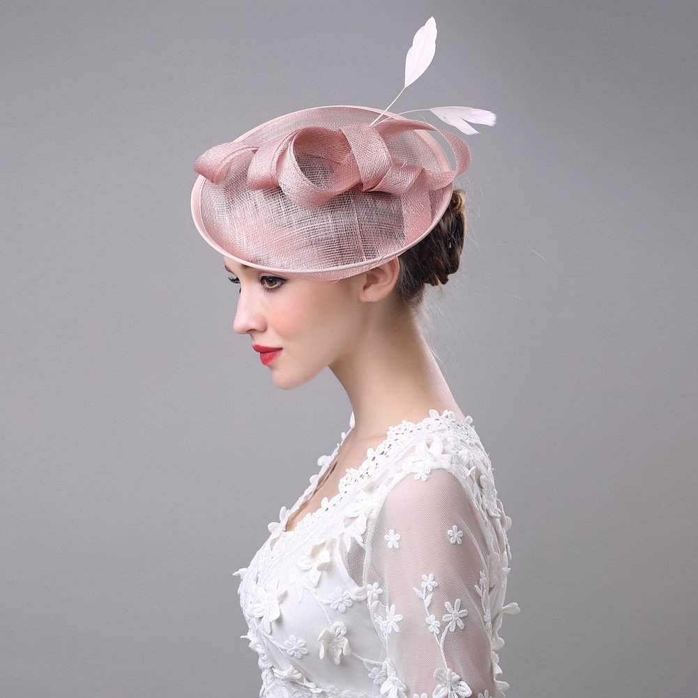 Women's Vintage Fascinators Hat Flower Mesh Ribbons Feathers with Clip for Wedding Bridal Headware by Hoxekle (Image #5)