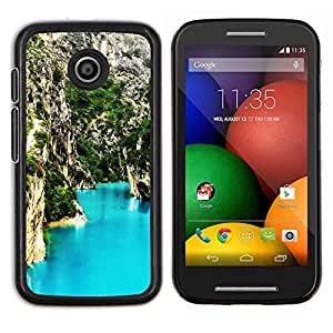 Blue Lagoon Montaña- Metal de aluminio y de plástico duro Caja del teléfono - Negro - Motorola Moto E / XT1021 / XT1022