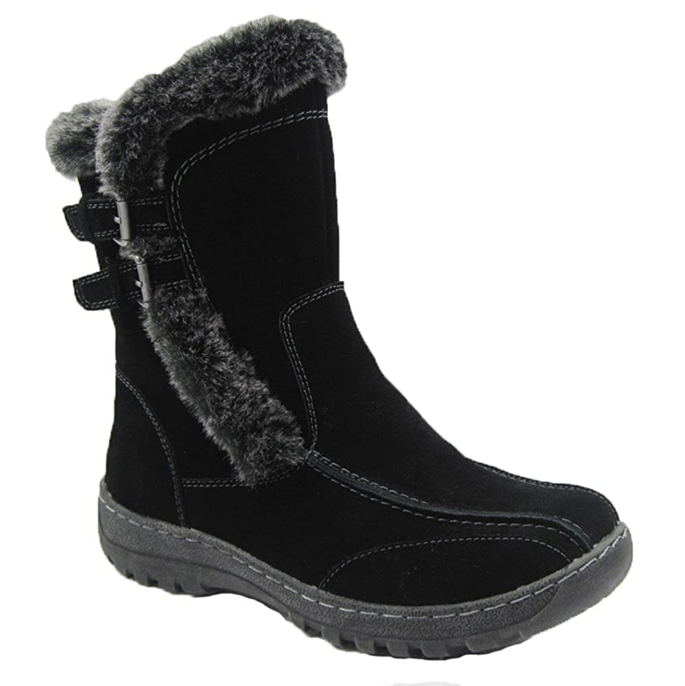 Black Comfy Moda Women's Winter Boots Berlin Genuine Cow Suede Leather Good for Narrow FEET Black