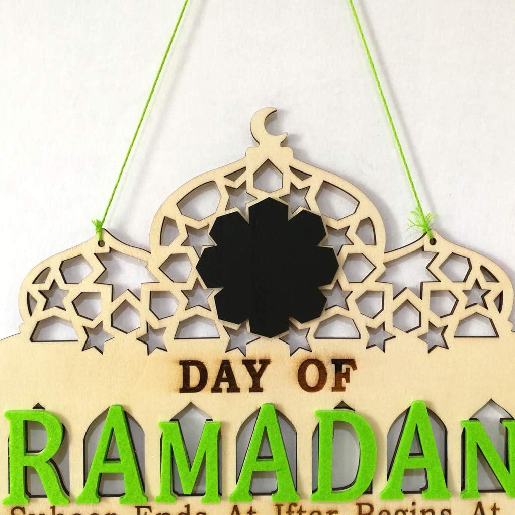 Islam Ramadan Countdown to EID Mubarak Advent Wooden Hanging Message Board Home DIYs Crafts Party Supplies KUKALE Ornament