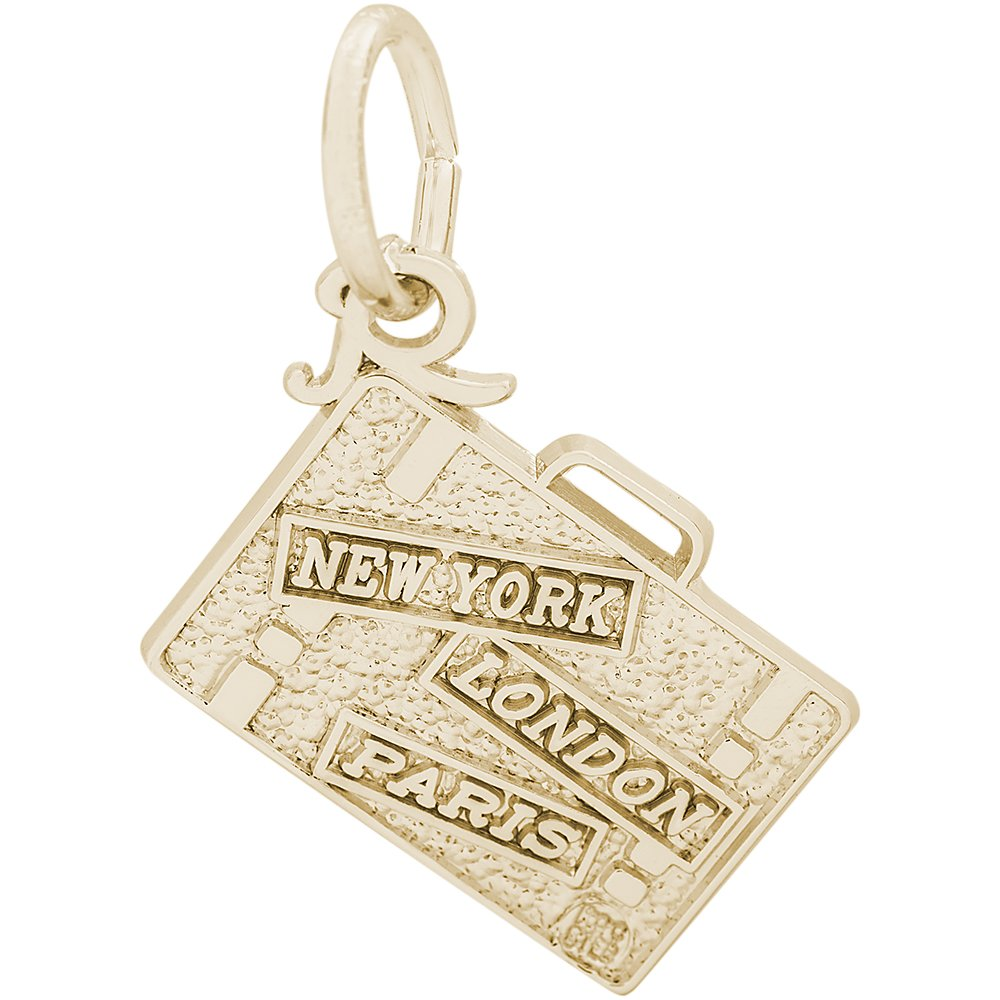 Rembrandt Charms 10K Yellow Gold 3-D Travel Suitcase - New York, London and Paris Charm (0.37 x 0.5 inches)