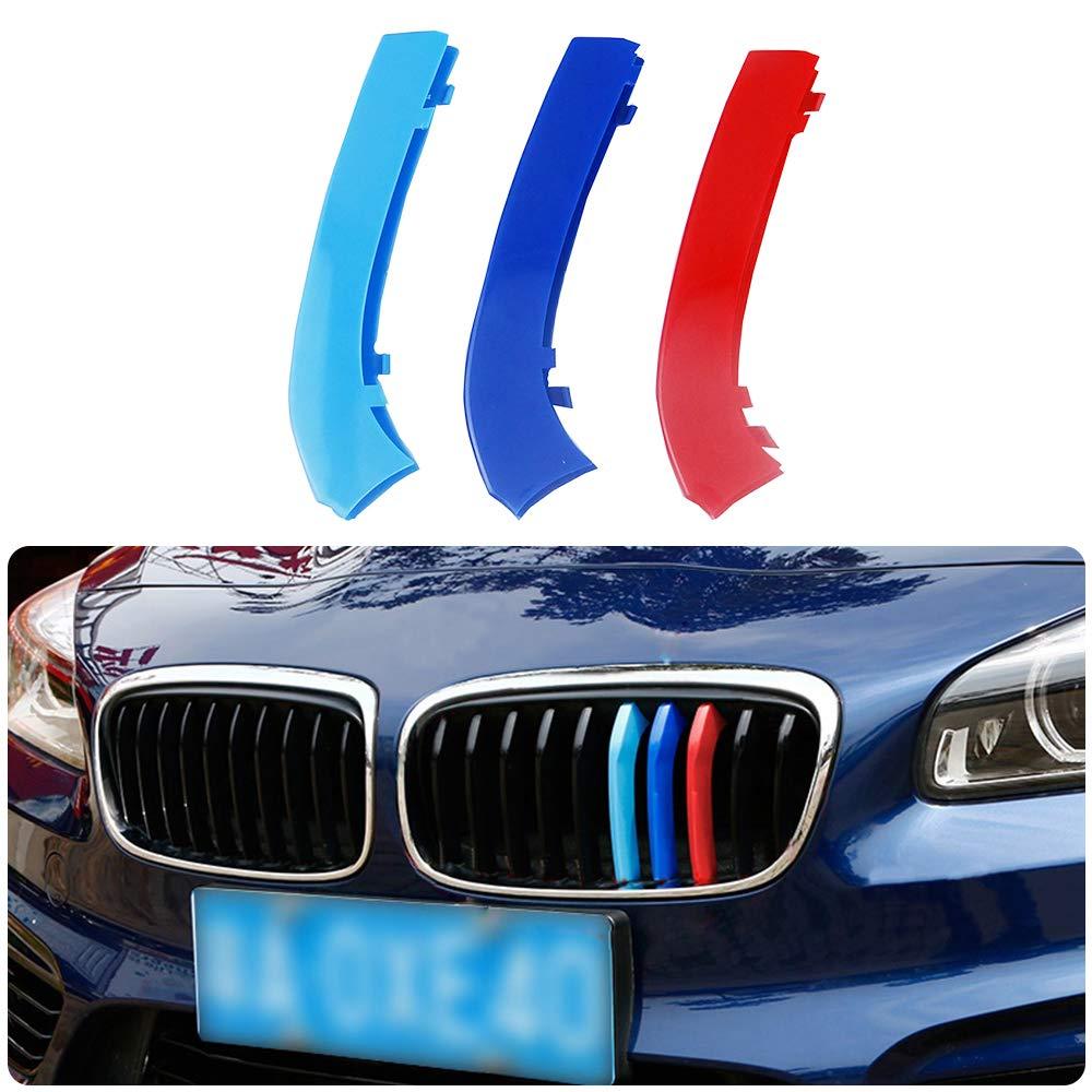 para 15-17 2 Serie Active Tourer 10cuadr/ículas 3 Colors M Styling Front Grille Trim Strips Cover Stickers 3 Piezas