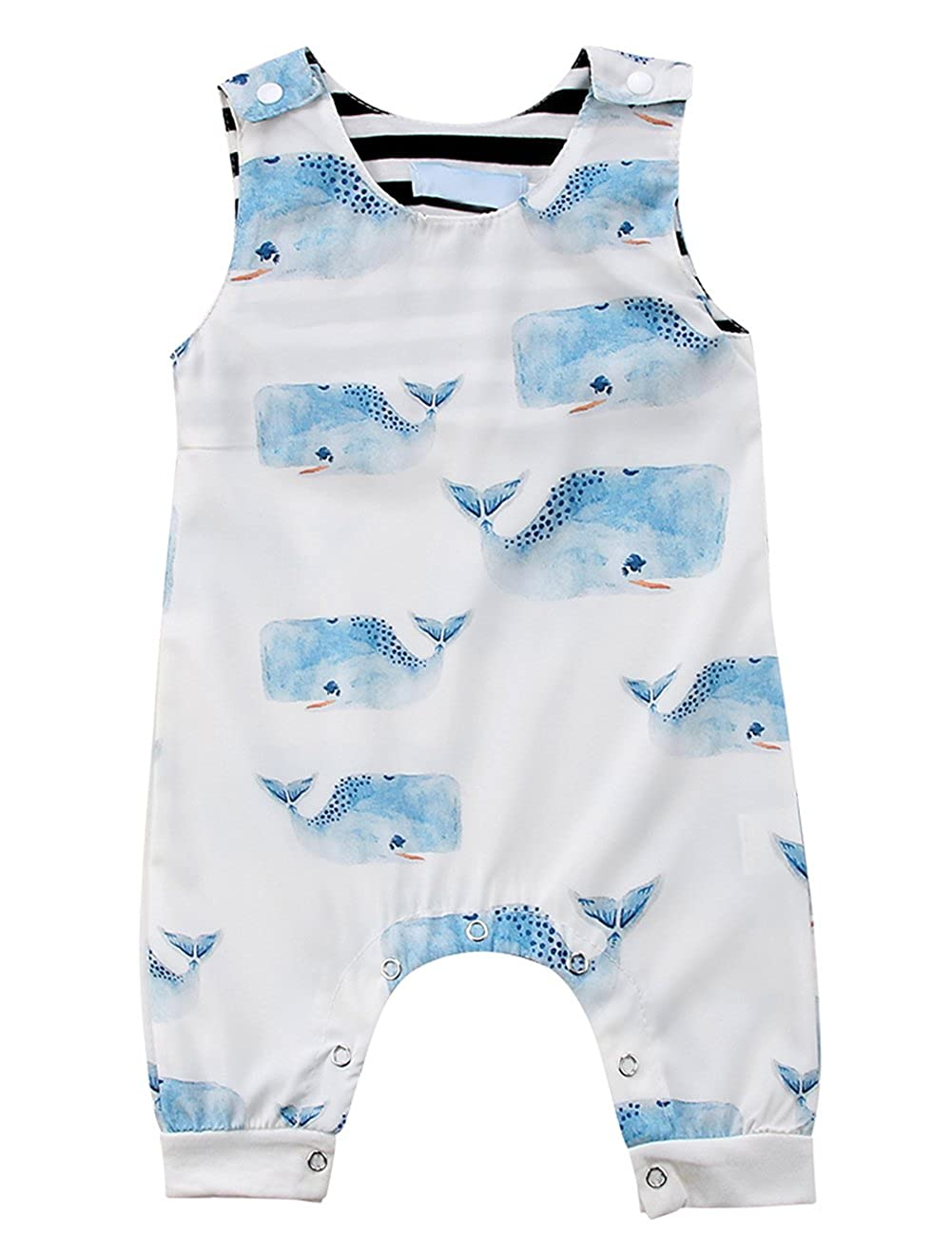 Baby Boys Toddlers Sleeveless Blue Whales Print Romper Jumpsuit Animal Outfit