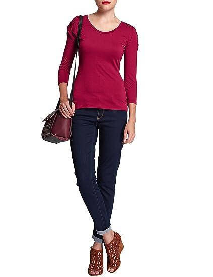 314e83c477e1a Morgan - T-shirt - Uni - Col rond - Manches longues - Femme - Rouge ...