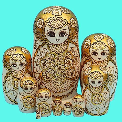 DishyKooker - Juego de 10 muñecos de Madera rusos, muñecas Matryoshka Doradas, Creativas y Tradicionales de Matryoshka
