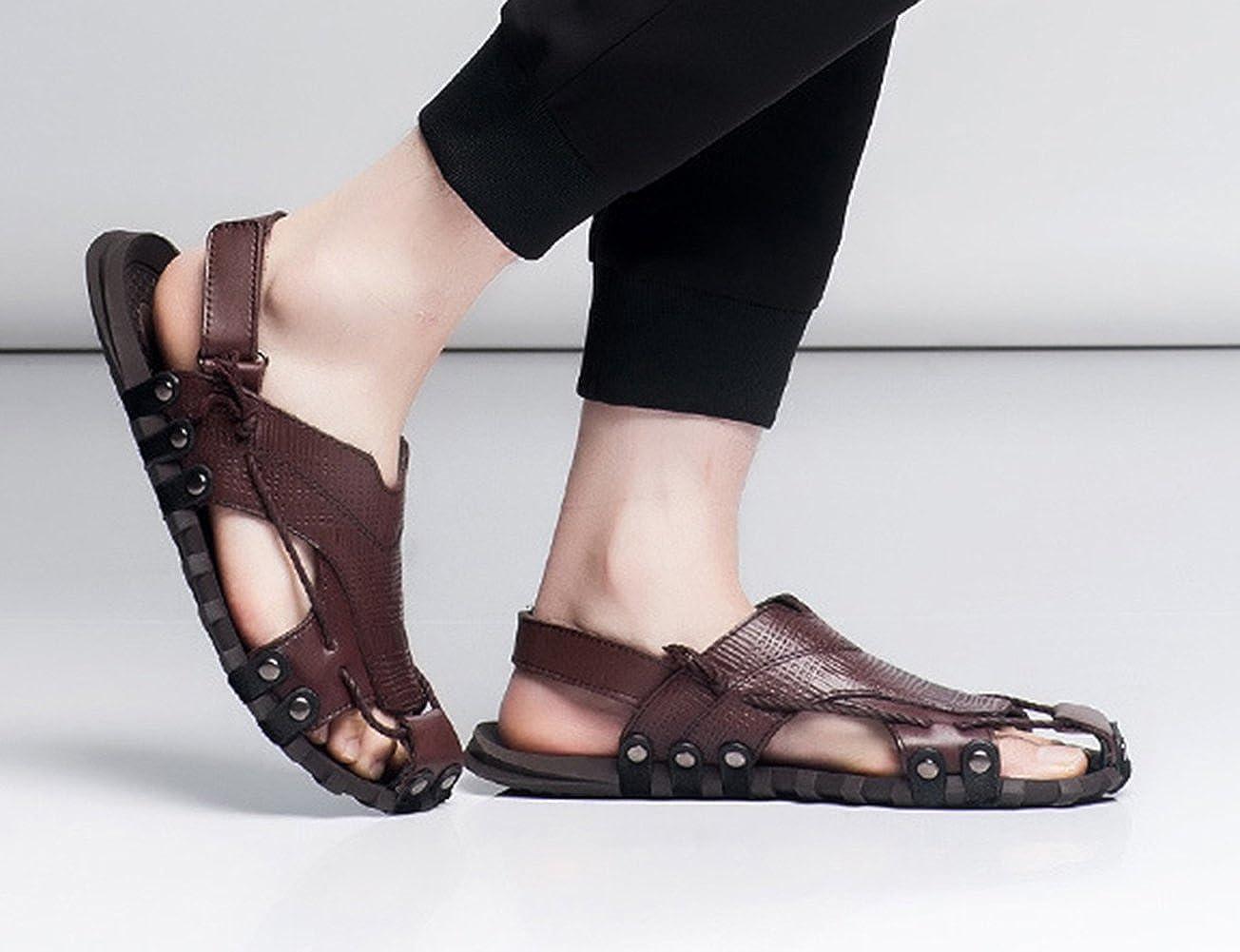 ICEGREY Herren Klettverschluss Leder KnöChelriemchen Sandalen mit Klettverschluss Herren Strand Hausschuhe Braun 178c9b