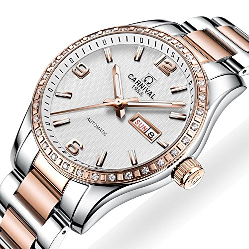 Couple Stainless Steel Automatic Mechanical Watch Sapphire Glass Watches for Her or His Gift Set 2 (Rose Gold/White) by MASTOP (Image #1)
