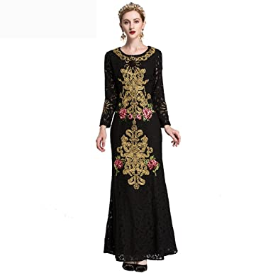 24c0fe5b044 Image Unavailable. Image not available for. Color  HORUES by Megyn Lace Maxi  Dress Women Long Sleeve Sequin Floral Embroidered Elegant Retro ...