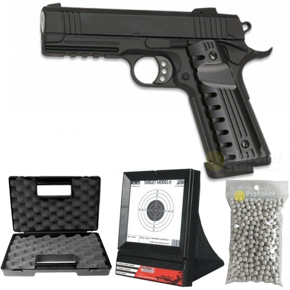 Paquete Completo con Accesorios - Pistola para Airsoft, Modelo GE3014, a Muelle/Spring, Todo en Metal, 0,5 Julios, Color Negro, Recarga Manual Golden Hawk