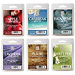 Hosley Set of 6 Assorted Wax Cubes/Melts/Tarts - 2.5 oz each. Apple Cinnamon, Caribbean Breeze, Eucalyptus Mint, Lavender Fields, Rustic Sandalwood, Sweet Pea Jasmine. Ideal GIFT