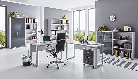 BMG-Moebel.de Büromöbel komplett Set Arbeitszimmer Office Edition in  Lichtgrau/Anthrazit Hochglanz (Set 7)