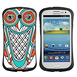 Hybrid Anti-Shock Bumper Case for Samsung Galaxy S3 / Cool Owl Tattoo
