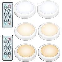 Draadloos onder kastverlichting, 6-delige warmwitte LED-pucklamp met afstandsbediening, nachtlampje, werkt op AA…