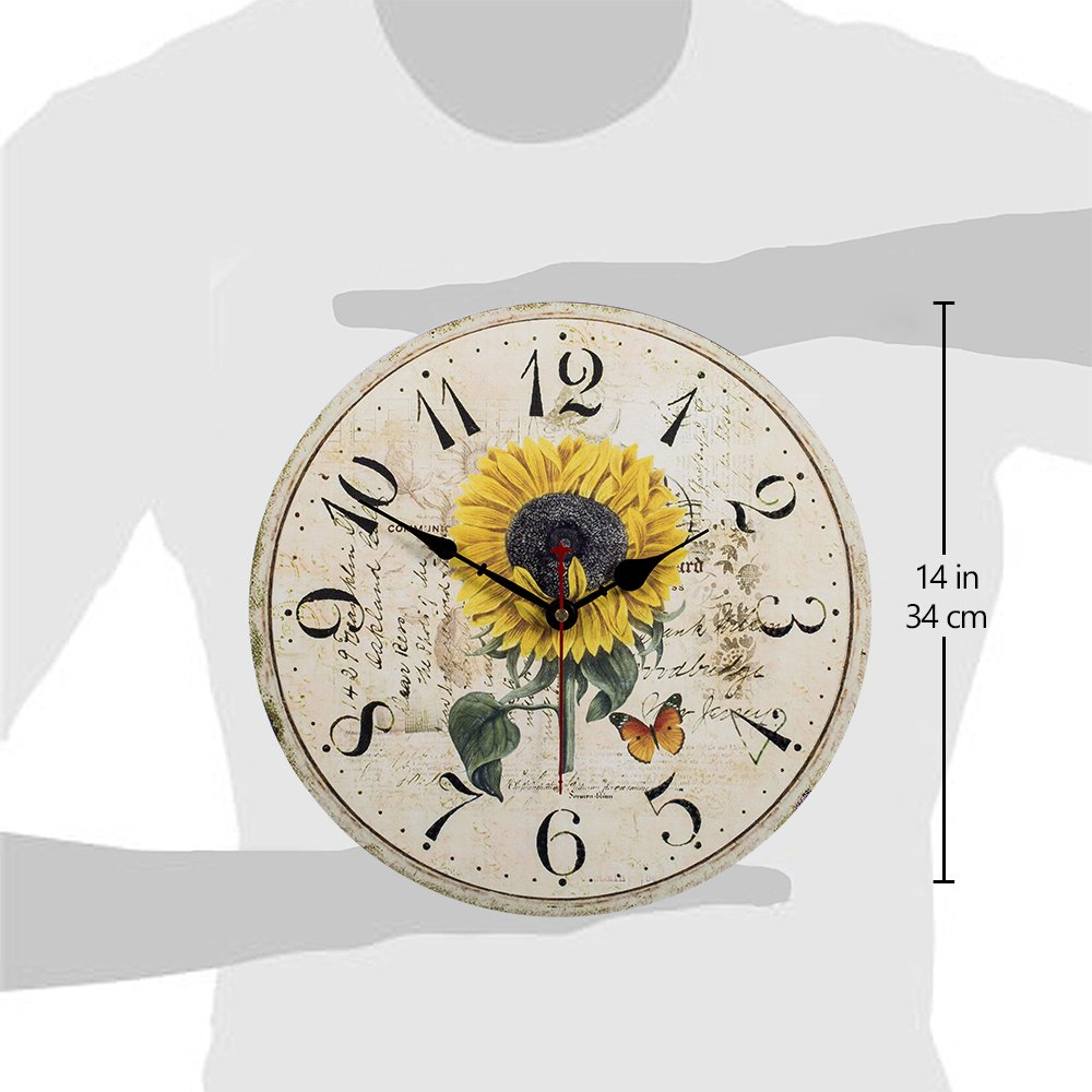 Home Decor Clock Colorful Retro Roman Numerals Style,Silent Non -Ticking Quartz Wooden Wall Clock Large Wall Art Decorative for Kitchen,Living Room,Kids Room and Coffee Decor 14 Inch, Paris SkyNature