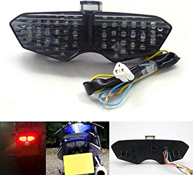 Areyourshop Integrated LED TailLight Turn Signals For Yamaha YZF R6 2003-2005 YZF R6S 2006-2008 Smoke