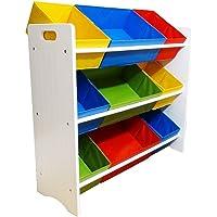 Organizador Infantil com Estrutura de Madeira e 9 Cestos Coloridos de Lona