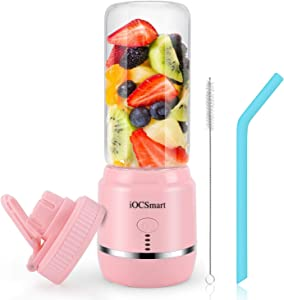 iOCSmart Portable Personal Blender, USB Rechargeable Wireless Electric Juicer Blender for Fruits Smoothie Shakes Baby Food with Cup Lid, Silicone Straw, 4000mAh High Capacity Batteries (Pink)