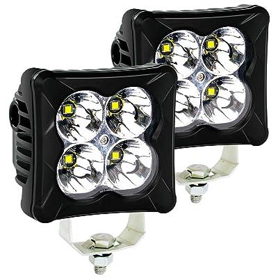 LED Pods Spot Light Bar - 4WDKING 2PCS 40W CREE LED Off Road Work Light Truck Fog Lamp Tail Light IP69K Waterproof ATV Cube Lights Fit for FORD F150 Polaris RZR JEEP Wrangler: Automotive