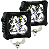 LED Pods Spot Light Bar - 4WDKING 2PCS 40W LED Off Road Work Light Truck Fog Lamp Tail Light IP69K Waterproof ATV Cube Lights
