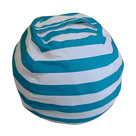Pleasing Ehonestbuy Kids Bean Bag Chair Stuffed Animal Storage Stripe Cotton Canvas Toy Organizer For Kids Bedroom Storage Solution For Plush Toys Towels Onthecornerstone Fun Painted Chair Ideas Images Onthecornerstoneorg