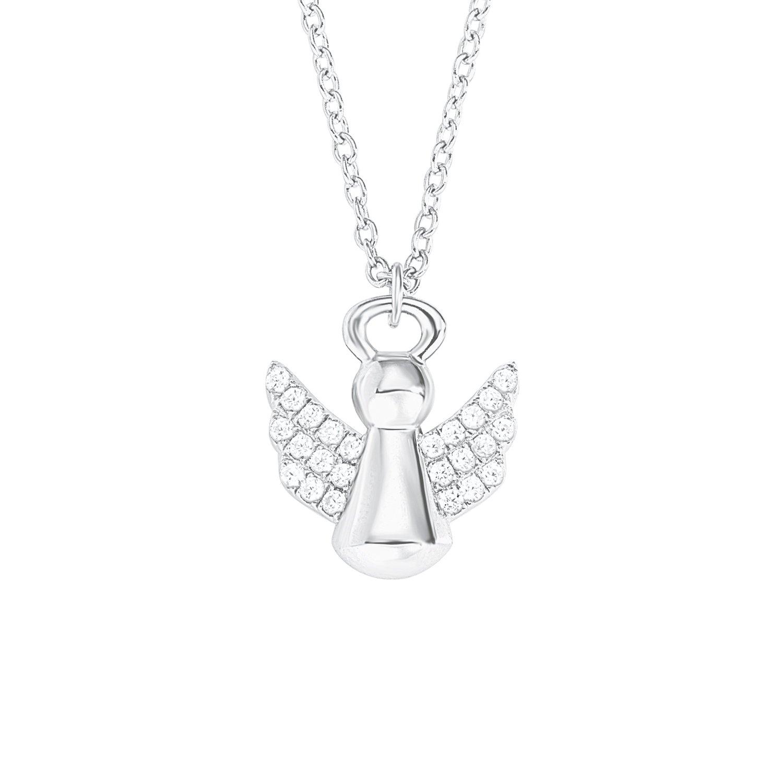 S.Oliver Kinder Kette mit Engel-Anhänger Schutzengel 925 Sterling Silber rhodiniert Zirkonia 37+3 cm weiß 2012458